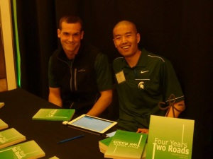 Andrew and I signing books at the Athletes in Action banquet. His foreword is phenomenal. And is worth $13 in-and-of itself.
